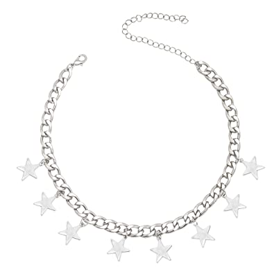 f6f7930cd46b4d CrazyPiercing Silver Tone Star Necklace, Tassel Star Choker Chain, Boho  Statement Necklace Charm Pendants