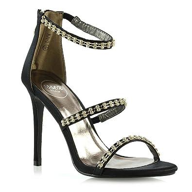 ESSEX GLAM Womens Stiletto Heel Sandals Ladies Black Satin Diamante High Heel Party Prom Shoes 5