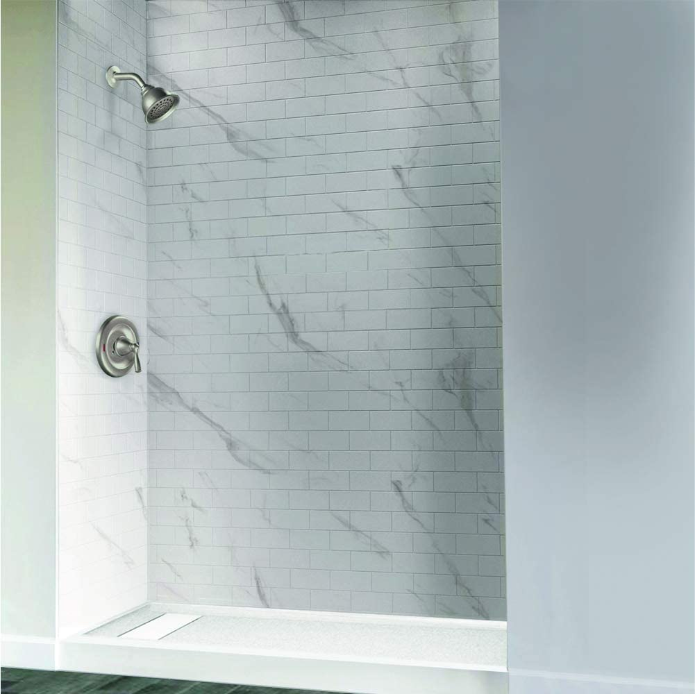White Transolid FL6036R-31 Linear 60-in x 36-in Rectangular Alcove Shower Base with Right Hand Drain