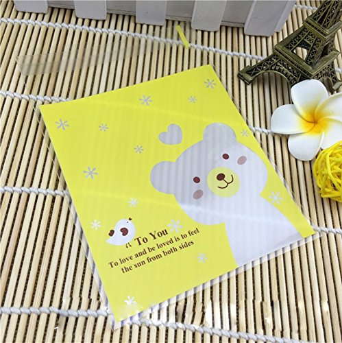 TripodGo 100 Pcs Cute 6×4 Self-sealing Clear Cellophane Bags, for Handmade Snake Bakery Candle Soap Cookie, Yellow Bear, 100 Pcs