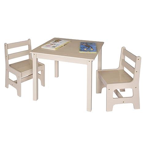 WOLTU SG001 Tavolo e Sedie per Bambini Soggiorno Tavolino con 2 Sgabelli  Set Mobili in Legno