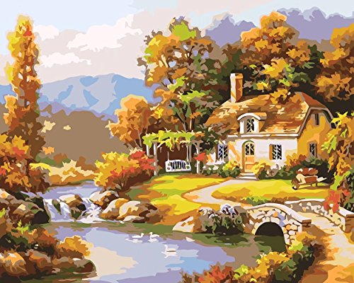 (Ehior Paint by Numbers Kits 16 x 20 inches DIY Acrylic Painting for Kids and Adults Beginner with 3X Magnifier, Brushes, Paints and Manual - Countryside Cottage (Without Frame) )