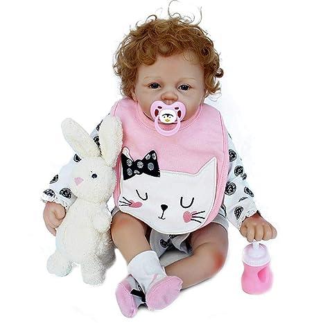Oddity 21inch 53cm Muñeca Reborn bebé, niño pequeño Suave Silicona Vinilo Realista Reborn Baby Doll, muñeco Interactivo para niños y niñas de 2 a 8 ...
