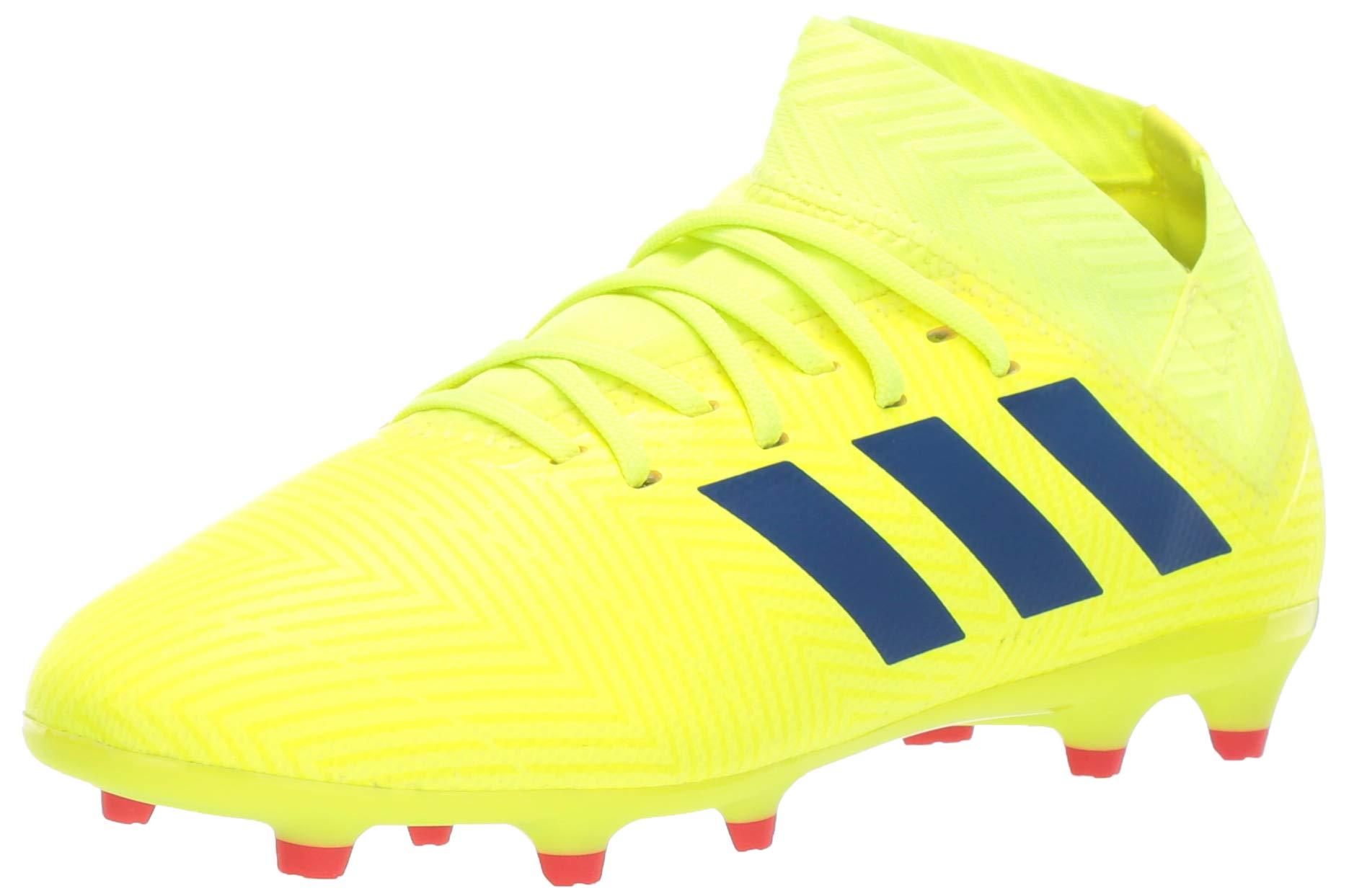 adidas Unisex Nemeziz 18.3 Firm Ground, Solar Yellow/Football Blue/Active red, 6 M US Big Kid