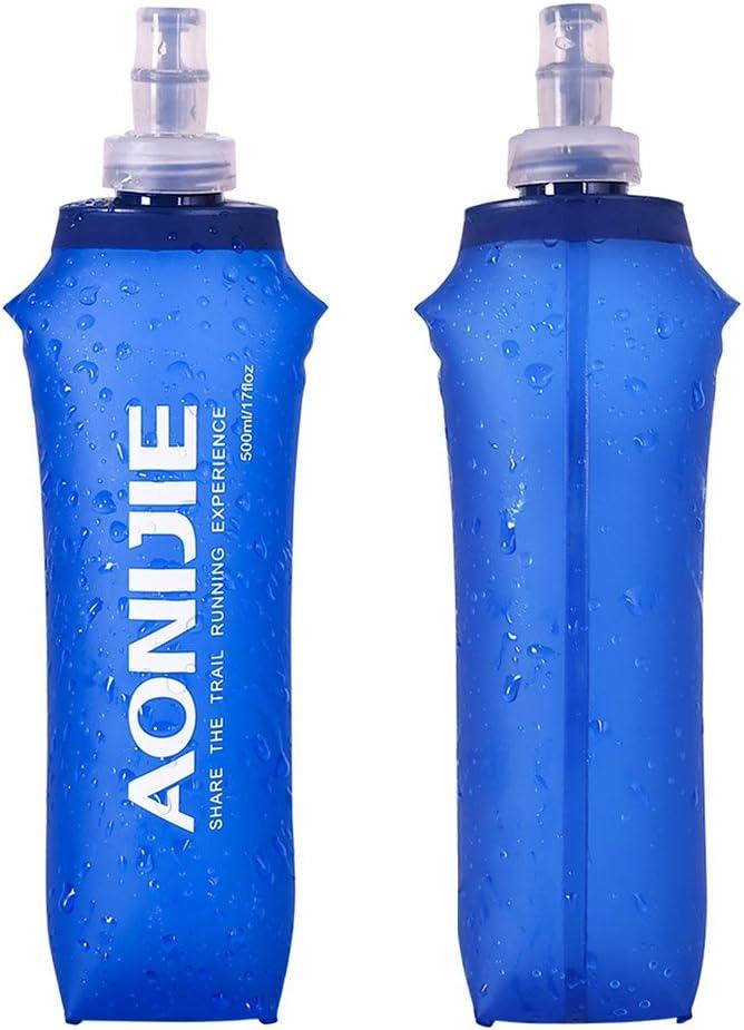 Docooler Plegable Deportes BPA Libre de PVC Suave Agua Corriente Eléctrica Suave Senderismo Flask Botella de Hidratación, 500ML
