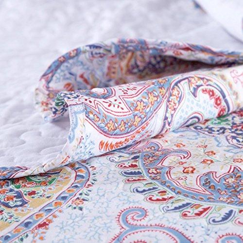 "Printed Quilt Coverlet Set Full/Queen(86″x96″) Crimson Blue Paisley Pattern Lightweight Hypoallergenic Microfiber ""Marrakesh"" by Bedsure 61qMsotd0yL"