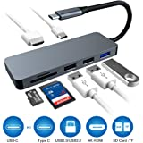 Raycue Hub USB C Adattatore 7Porte con HDMI 4K, 3 Porte USB, Lettore Schede SD/TF Hub Tipo C per dell XPS Huawei PC Windows Computer Plug And Play