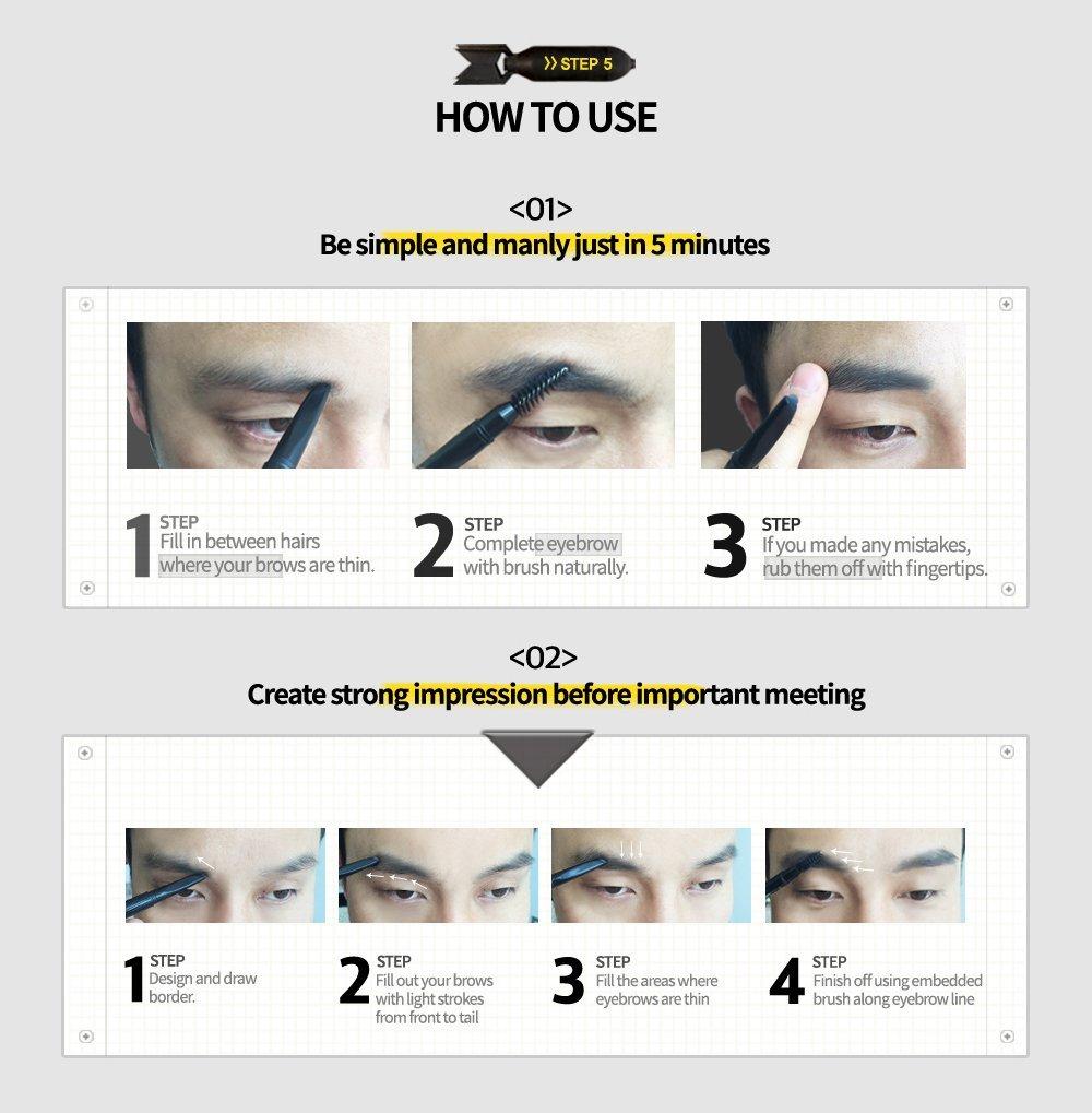 Amazon Allbyann Mip Minam Project Korean Men Eyebrow Pencil