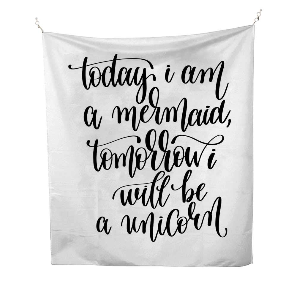 Im Mermaidoutdoor tapestryBeing Cool with Who You are Happy Advocate Self Esteem Promoting Expression 70W x 84L inch Ceiling tapestryBlack White