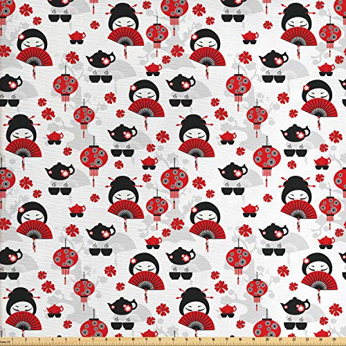 Lunarable Lantern Fabric by The Yard, Geisha with Japanese Fan Chinese Traditional Tea Pot Floral Graphic Design, Decorative Fabric for Upholstery and Home Accents, 1 Yard, Black - Fabric Chinese Designs