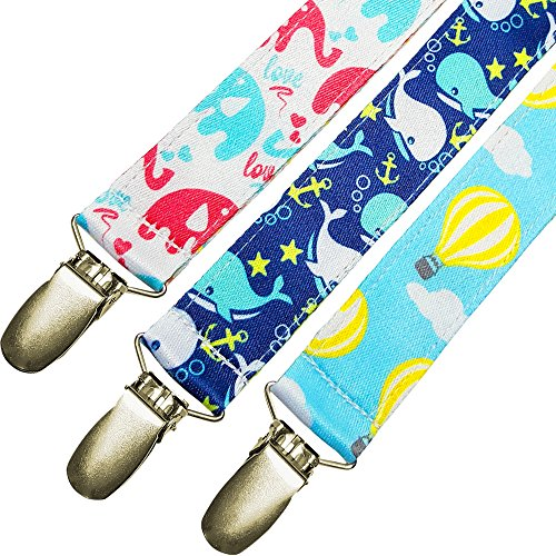 Sale! Pacifier Clip and Holder (3-Pack) - Fits All Pacifier Styles - Best Accessory for Teething Toys, Blankets, Soothie! Perfect Baby Shower Gift! (Hot Air Balloon Hamper)