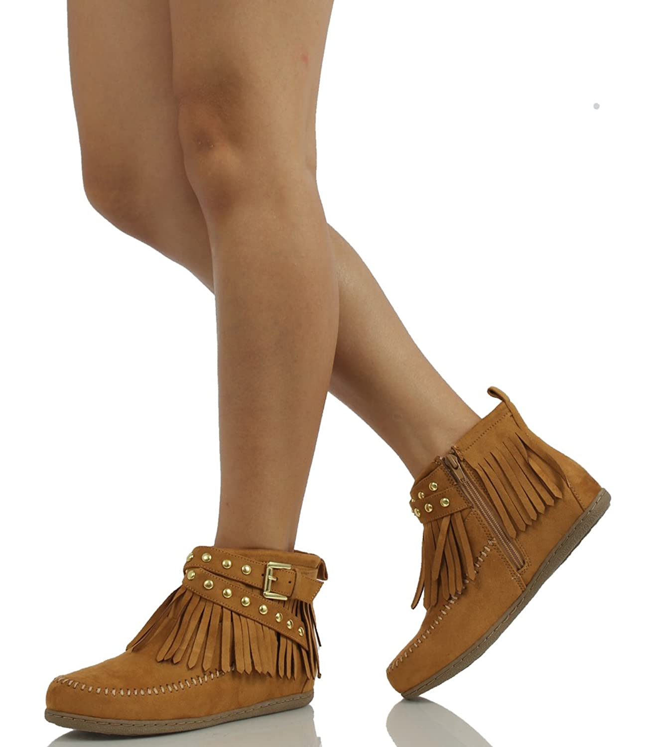 Women's Round Toe Faux Suede Stacked Heel - Sling Back Western Ankle Bootie