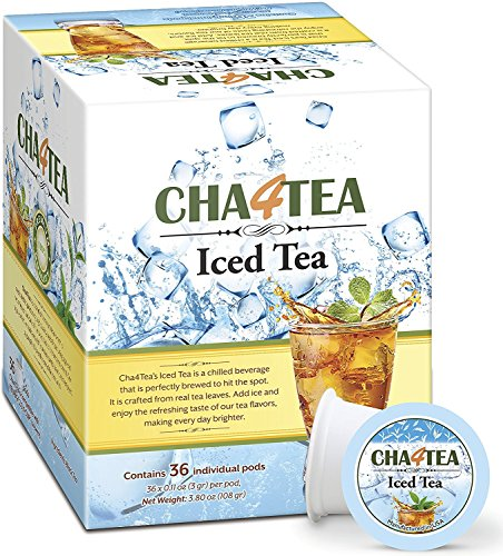 (Cha4Tea 36-Count Black Iced Tea K Cups for Keurig K-Cup, Unsweetened)