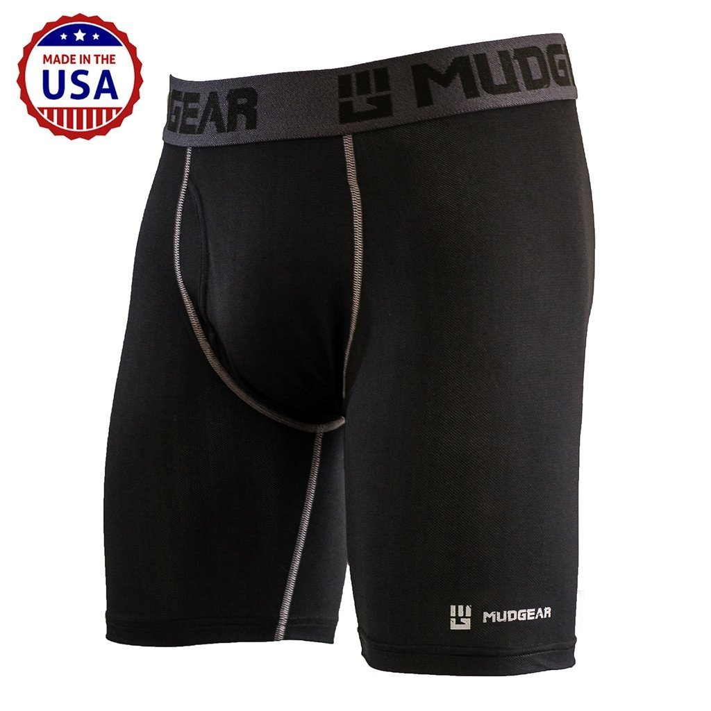 MudGear Performance Boxer Brief for Men, Breathable Wicking Base Layer Underwear Packed with Tech for Sports and Running (Large (36-38), Black/Gray)