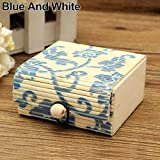 lightclub Rustic Personalized Vintage Retro Country Style Ring Necklace Earrings Bamboo Wooden Case Jewelry Storage Boxes Holder Gift for Earring,Rings.Necklaces,Bracelet,Anklet Blue and White