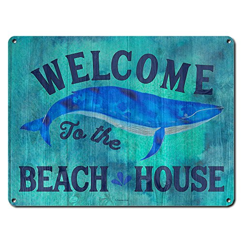 "Welcome to the Beach House ~ Beach Theme Whale Decor ~ 9"" x 12"" Metal Sign ~ Home Wall Decorations & Gifts for Ocean Lovers, Whale Watchers, Cottage, Divers, Surfers -"