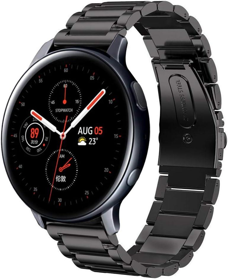 SUNDAREE Compatible con Correa Galaxy Watch Active2 42MM/44MM,20MM Metal Acero Inoxidable Reemplazo Correas Banda Pulseras de Reloj Inteligente con para Samsung Galaxy Watch Active 2(Active2 Black)