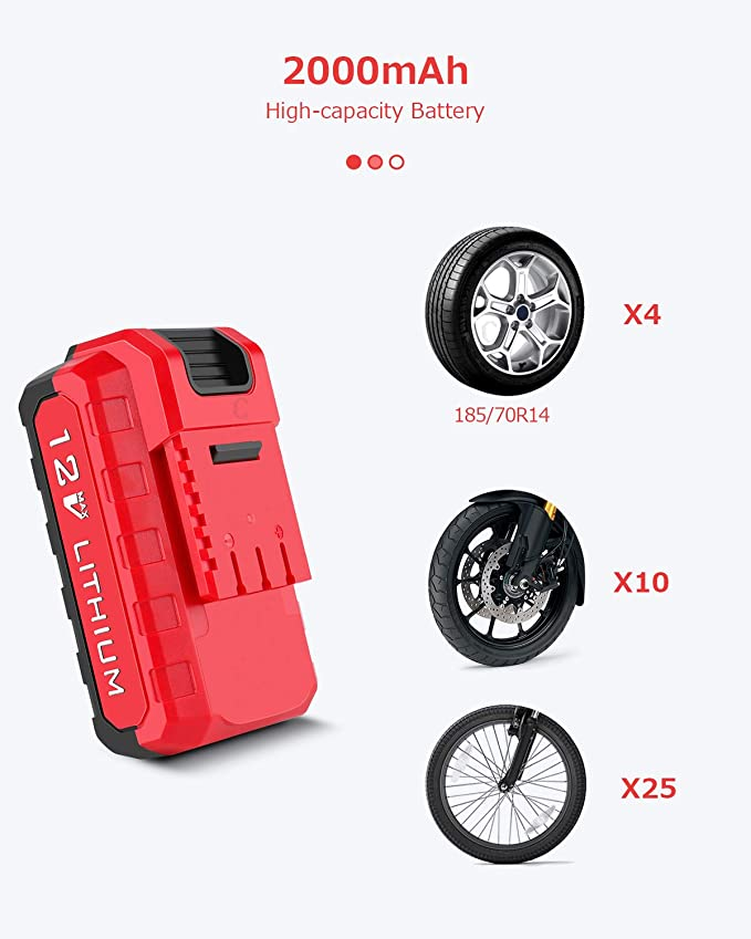Oasser Air Compressor Tire Inflator Cordless Air Pump for Cars Motorcycles Bicycles with Digital Pressure Gauge 2000mAh Lithium Battery USB Charging 120PSI P2A