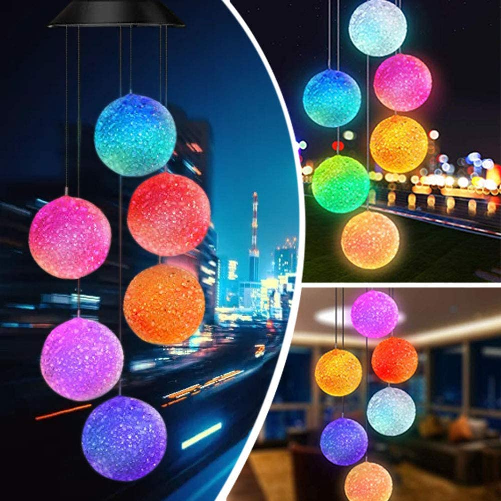Wind Chimes,Solar LED Wind Chimes Outdoor, Birthday Gifts for Mom,Grandma Gifts,Gardening gift,Waterproof Outdoor Decorative Romantic Color Changing Wind Bell Light for Patio Yard Garden Home