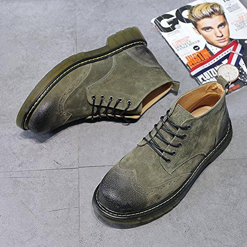 Santimon Hommes Désert Bottes Cheville Lacets En Daim Style Britannique Causalité Bout Rond Chaussures De Plein Air Oxford Vert