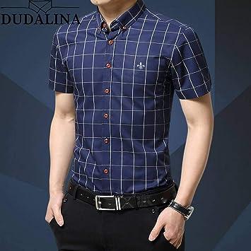 GFRBJK Dudalina Plus Size 5XL 2019 Moda de Verano Hombre de Manga Corta de algodón Camisas sociales Camisa a Cuadros para Hombre Marca de Ropa , 2311Dark Blue ,: Amazon.es: Deportes y