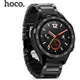 [2017 Newest Version]Huawei Watch 2 Band, hoco 20mm Solid Stainless Steel Metal Replacement Strap Wrist Band with Butterfly Style Buckle for Huawei Watch2 Sport, Samsung S2 Watch Classic (Black)