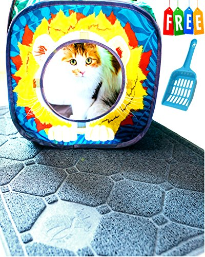 Cat Litter Mat Litter Trapping - Extra Large - Secret to Prevent Cat Litter Tracking! – Patent Pnding Desgn Stop Litter Scatter B4 it Starts – Urine Proof – Soft (Larger Cats)