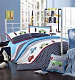 MeMoreCool Home Textile Embroidery Cartoon Car Design Kids Environmental Reactive Printing High-grade Cotton 3 Piece Bedding Set Quilt Covers for Boys and Girls Soft Flounce Bed Sheets Twin Size