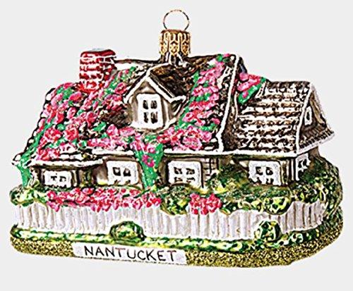 Pinnacle Peak Trading Company Nantucket House Polish Glass Christmas Tree Ornament Massachusetts MA USA -