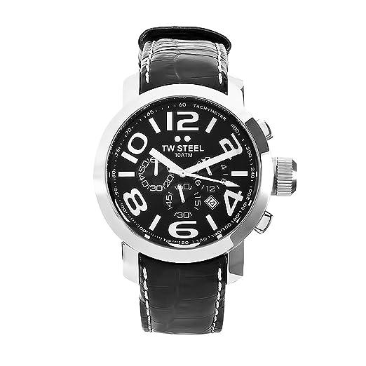 TW Steel Grandeur TW-50 - Reloj de caballero de cuarzo, correa de piel color rojo: Amazon.es: Relojes