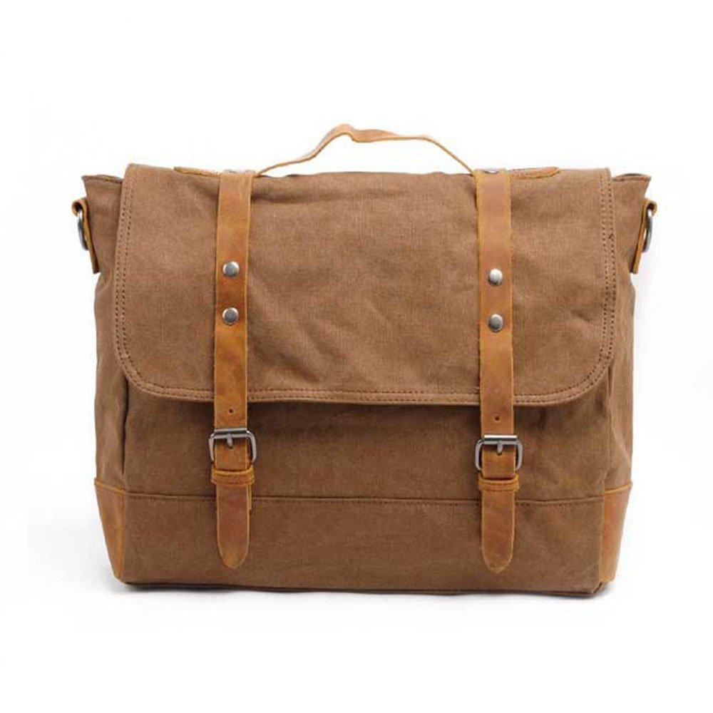 Unisex Canvas Men Handbag Casual Briefcase One Shoulder Crossbody Bag Vacation (Color : Coffee)