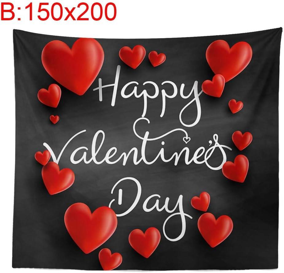 Buon San Valentino Lukame San Valentino Arazzo Forma di Cuore Rosso Stampa Digitale Sfondo Panno Interno Appeso Panno Pittura Murale Coperta Decorativa Spiaggia Yoga Tappeto Domestico