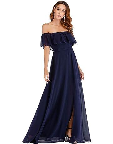 d25de8a4f37bf1 Ever-Pretty Womens Off The Shoulder Ruffle Party Dresses Side Split Beach  Maxi Dress 07679
