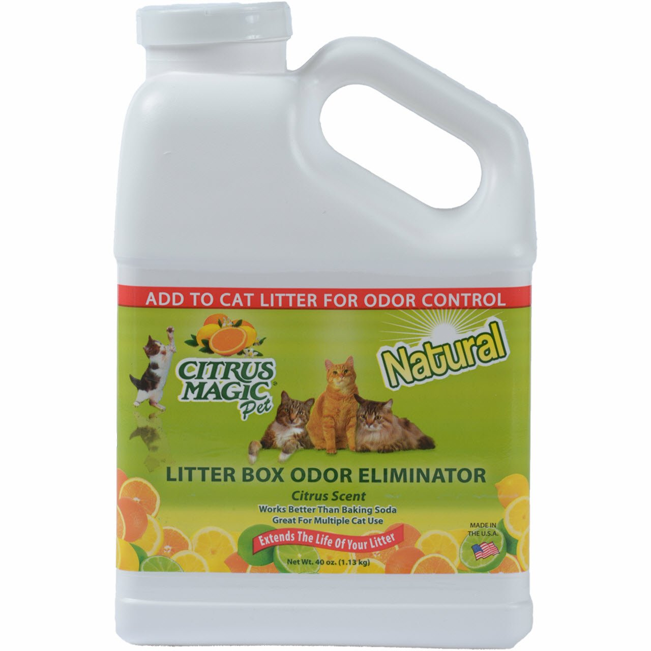 Citrus Magic Pet Litter Box Odor Eliminator Fresh Citrus, 40-Ounce