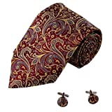 Burgundy Pattern Men Ties Gold Paisley Boyfriend Presents Accessories Neckties Cufflinks Set A1118 One Size Burgundy
