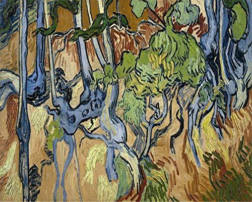 Paint by Numbers, Van Gogh Series DIY Oil Paintings DIY Painting by Numbers for Adults Beginner Kids 16x20 inch DIY Oil Paint Digital Oil Painting (Root, - Roots Framed