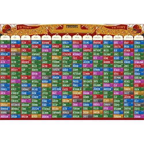 (Vivid Ventures Fantasy Legends 2018 Fantasy Football Draft Board Kit (Up To 14 Team League) - Custom Design With 440 Stickers/labels)