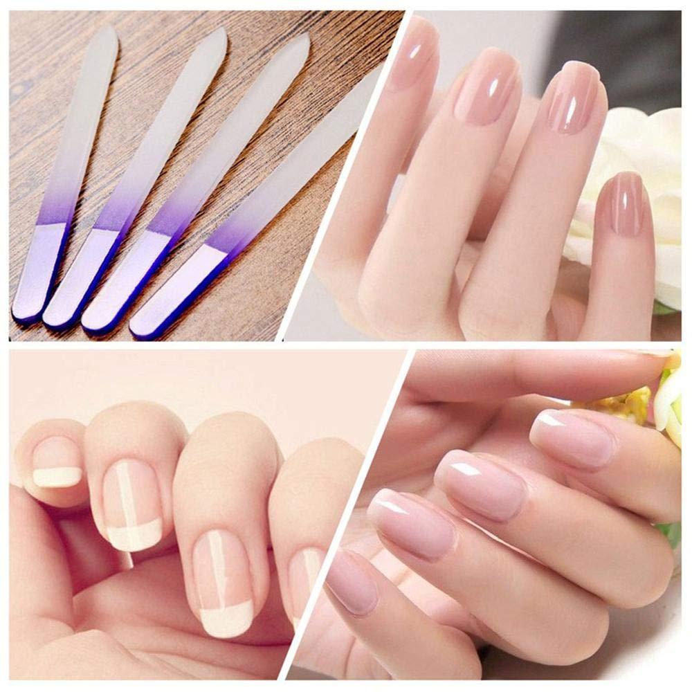 Pawaca - Juego de 4 limas de uñas de cristal para manicura y pedicura, uñas postizas de doble cara, uñas postizas de gel natural y acrílico, para mujeres y ...