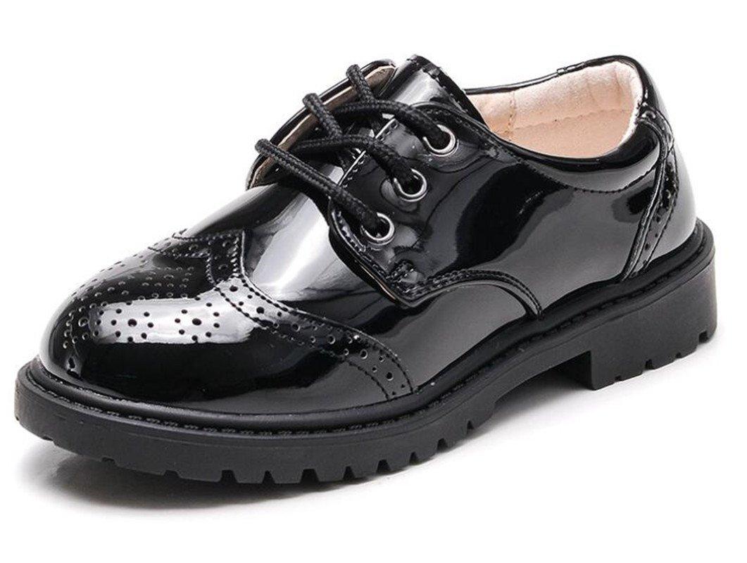 Bumud Boy's Girl's Leather Lace Up School Uniform Oxford Dress Shoes (1 M US Little Kid, Black(Lace Up))