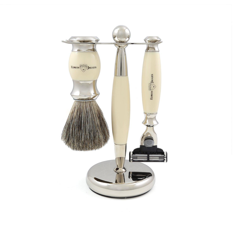 Edwin Jagger Shaving Gift Set - Imitation Ivory Pure Badger Shaving Brush, Gillette Mach 3 Razor and Stand
