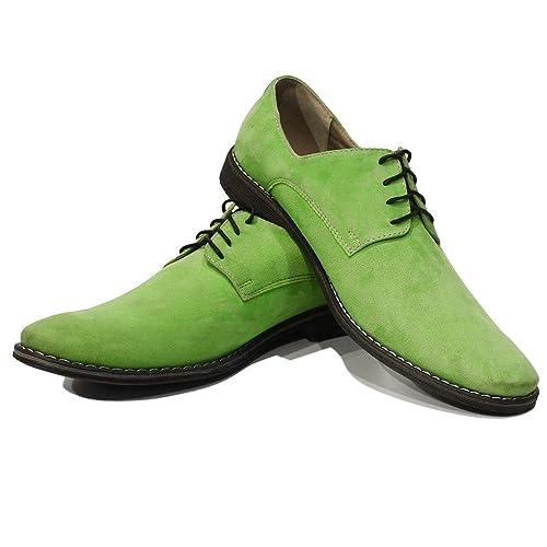 Modello Sito - 39 - Cuero Italiano Hecho A Mano Hombre Piel Verde Zapatos Vestir Oxfords
