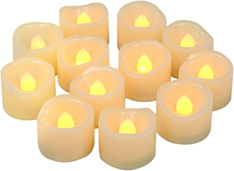 Solidpin Flicker Flame Tea Light Candle with Timing 6 Hours on and 18 Hours Off in 24 Hours Cycle Automatically for Xmas Wedding Party Thanksgiving Day Tealight Candles Battery Operated with Timer