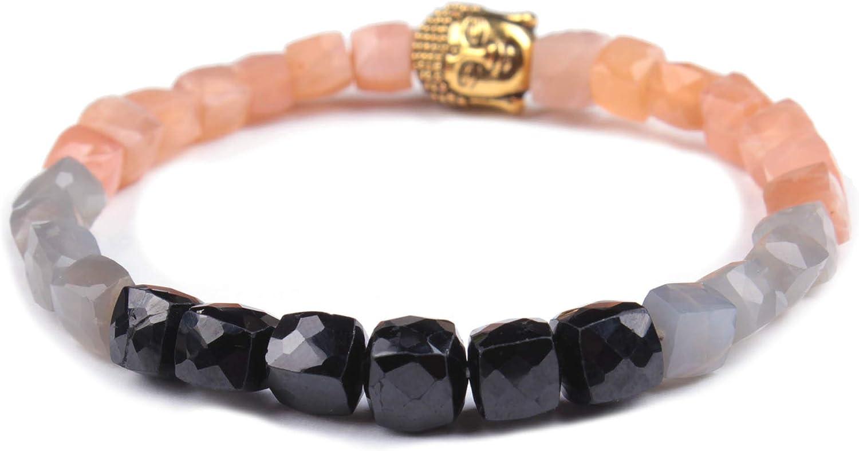 Jingle Jewels Pulsera de cuentas facetadas, pulsera de cuentas con múltiples piedras naturales | Pulsera ajustable unisex de calidad AAA, San Valentín