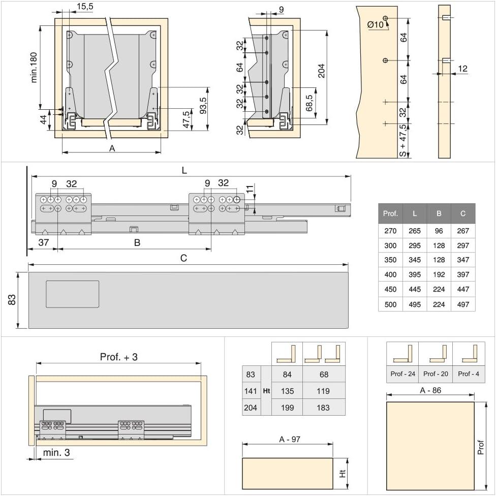 Emuca Kit de caj/ón para cocina o ba/ño con guias de extracci/ón total y cierre suave altura 204mm y profundidad 400mm Gris