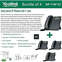 Yealink SIP-T19P E2 Bundle of 4 VoIP Phone with 1 Line, PoE, Dual 10/100 Mbps