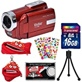 Vivitar DVR-508 HD Digital Video Camera Camcorder (Red) 16GB Card + Monstar Case & Pouch + Puffy Stickers + Tripod + Kit