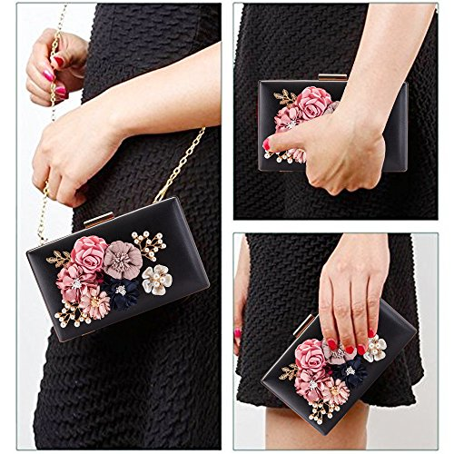 Bag Bridal Cocktail Handbag Pearls Wedding Evening Party Prom Artificial Women Clutches Beaded Bags Flowers Black PU Purses 5YwxpWHP