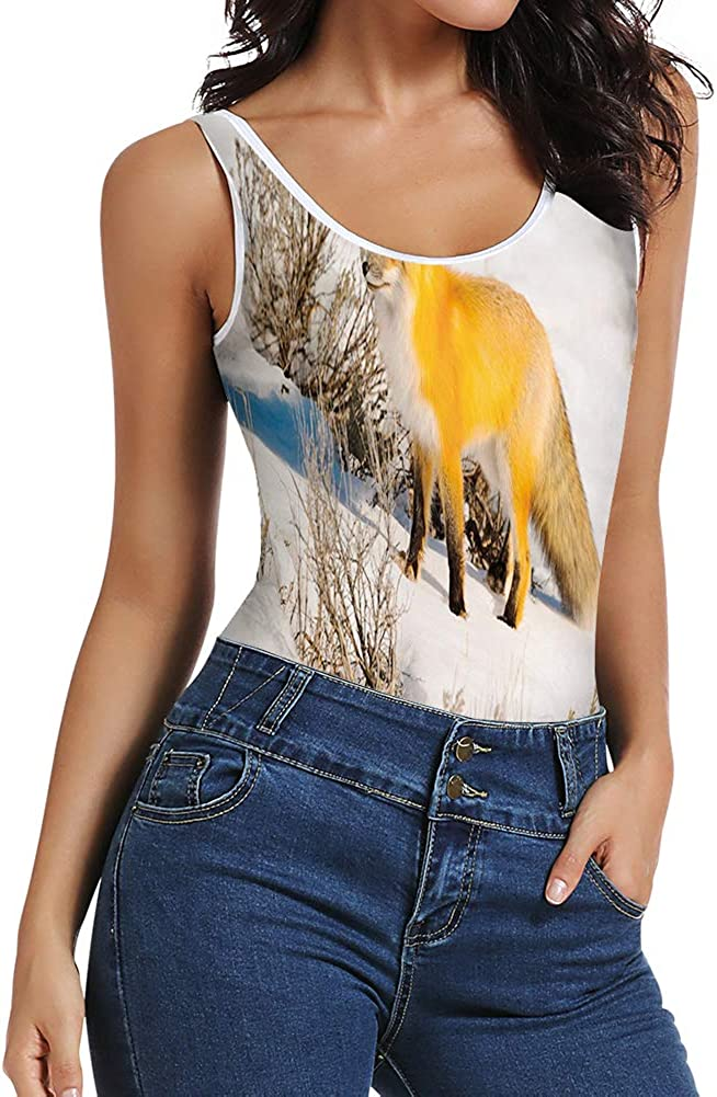 Women's Bodysuits Jumpsuits,Red Fox in Nature Snowy Mountain Cold Winter Scenery Wildlife Carnivore Image 61qN-kFJbBL