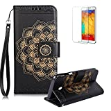 For Samsung Galaxy J3 (2017) Case [with Free Screen Protector],Funyye Classic Vintage [Sunflower Flower Pattern] Premium Folio PU Leather Wallet Magnetic Flip Full Protection Holster Case for Samsung Galaxy J3 (2017)-Black