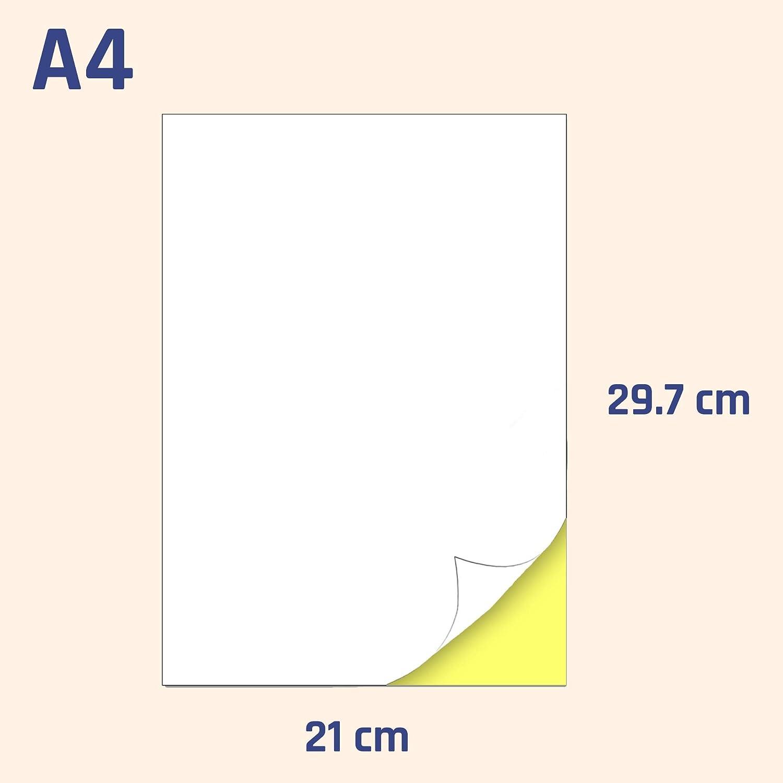 21 etichette per foglio 63,5 x 38,1 mm A4 Etichette Adesive bianche opaco 25 fogli